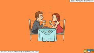A couple enjoying date. Clipart restaurant romantic dinner