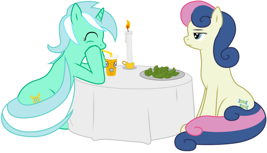 Lyra and bonbon by. Restaurants clipart romantic dinner