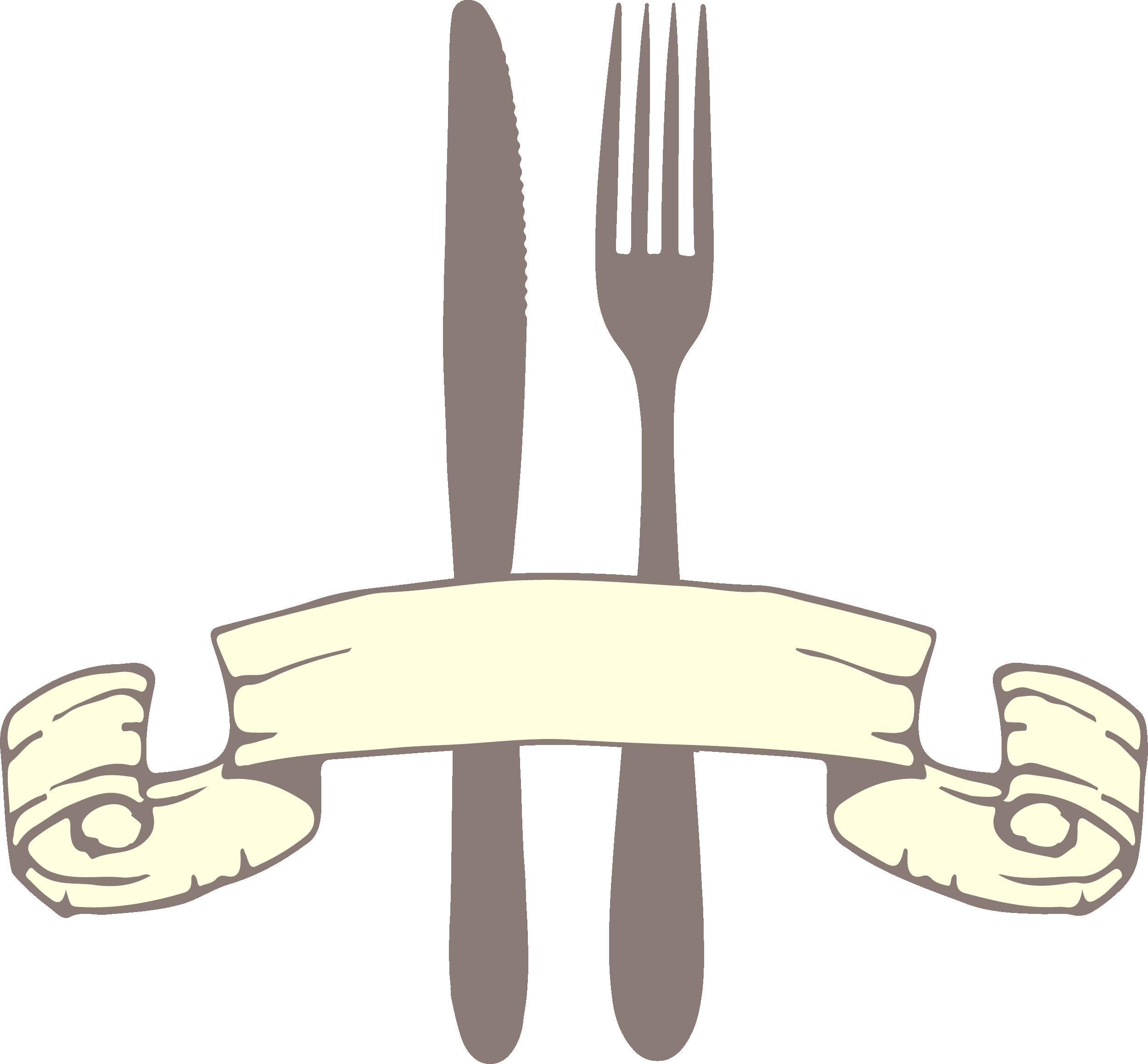 Knife european cuisine yellow. Clipart restaurant spoon fork