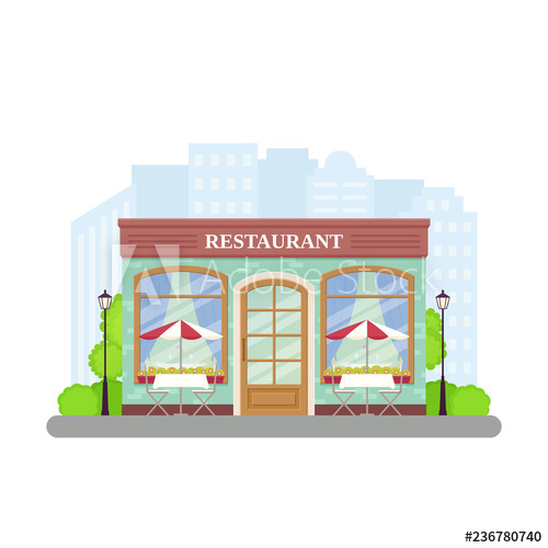 Vector street cafe shop. Clipart restaurant storefront