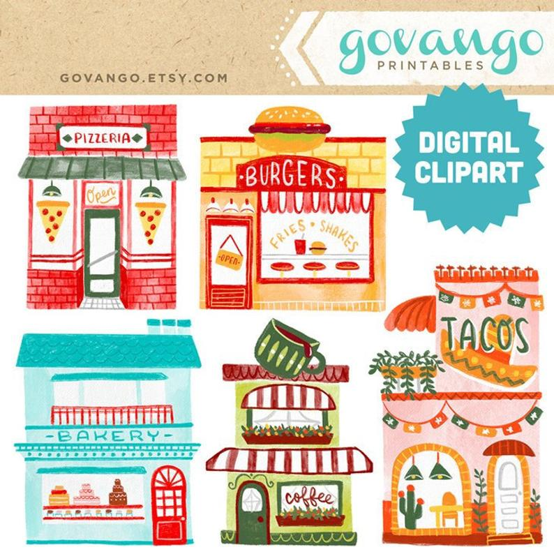 Clipart restaurant storefront. Cute food shops digital