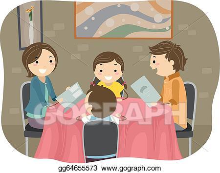 Clipart restaurant team dinner. Eps illustration family having