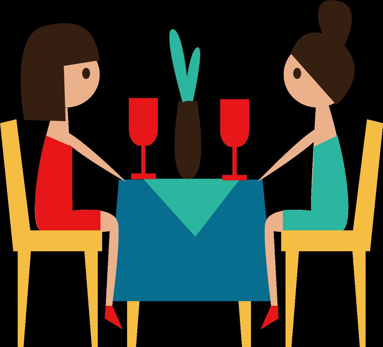 Conversation job sharing cartoon. Clipart restaurant transparent