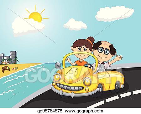 Clipart road beach road. Vector art car a