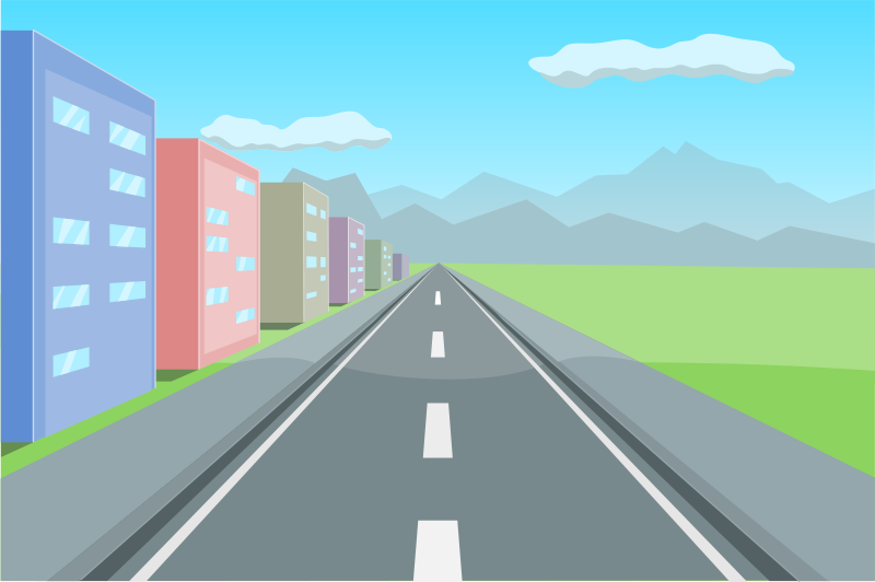 Free in perspective buildings. Clipart road building