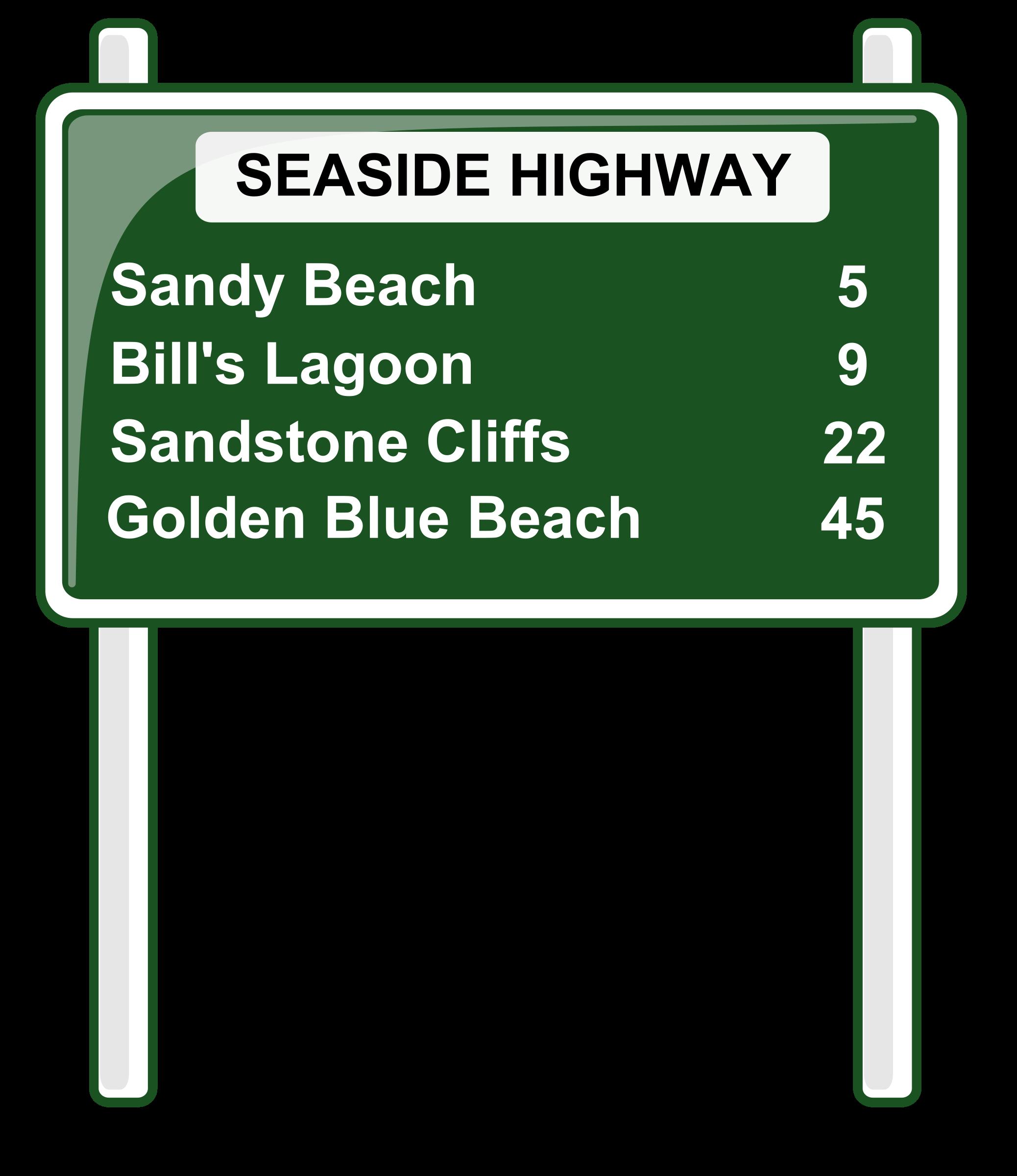 Distances sign big image. Clipart road cartoon