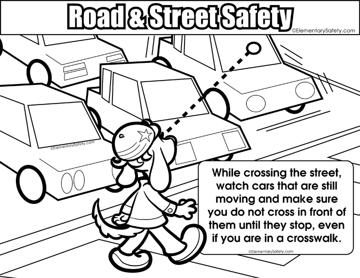 Elementary safety lifeskills traffic. Clipart road coloring page