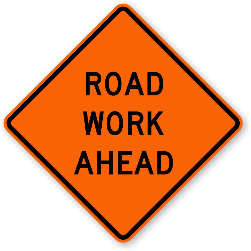 Clipart road concrete road. Work signs ahead zoom