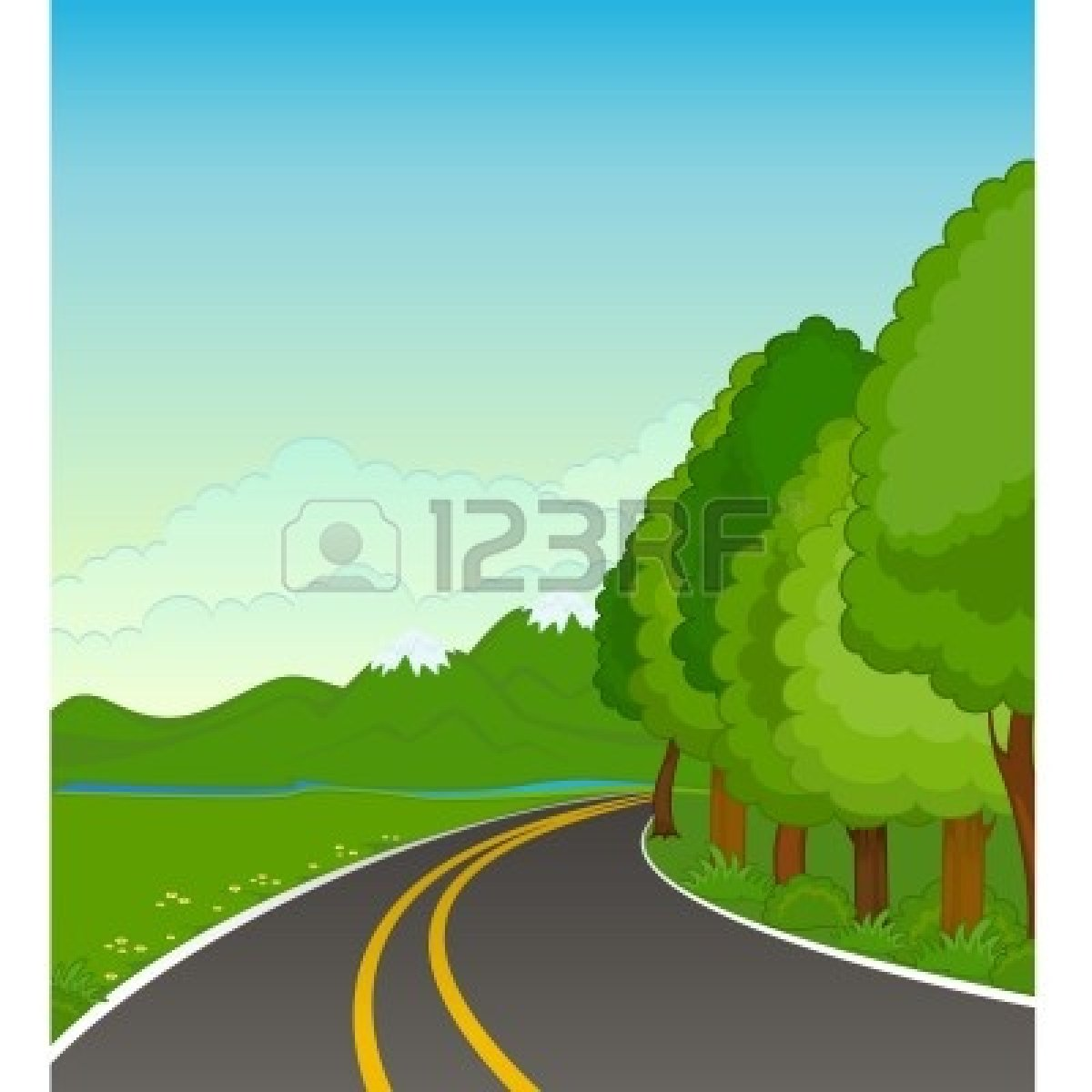 Clipart road country road. Station