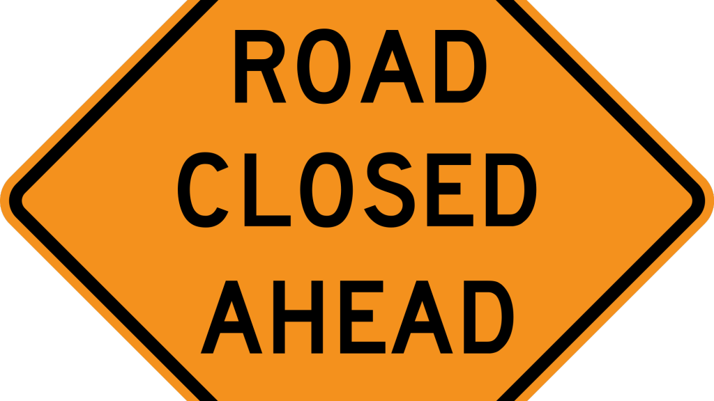 Closure advisory. Clipart road country road