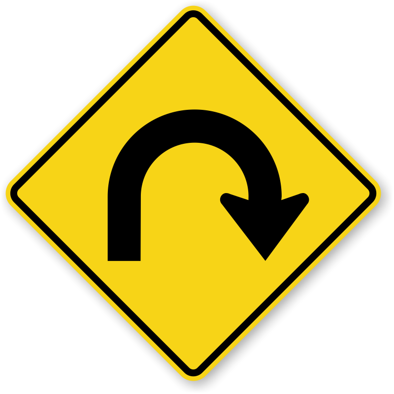 U turn signs zoom. Clipart road driveway