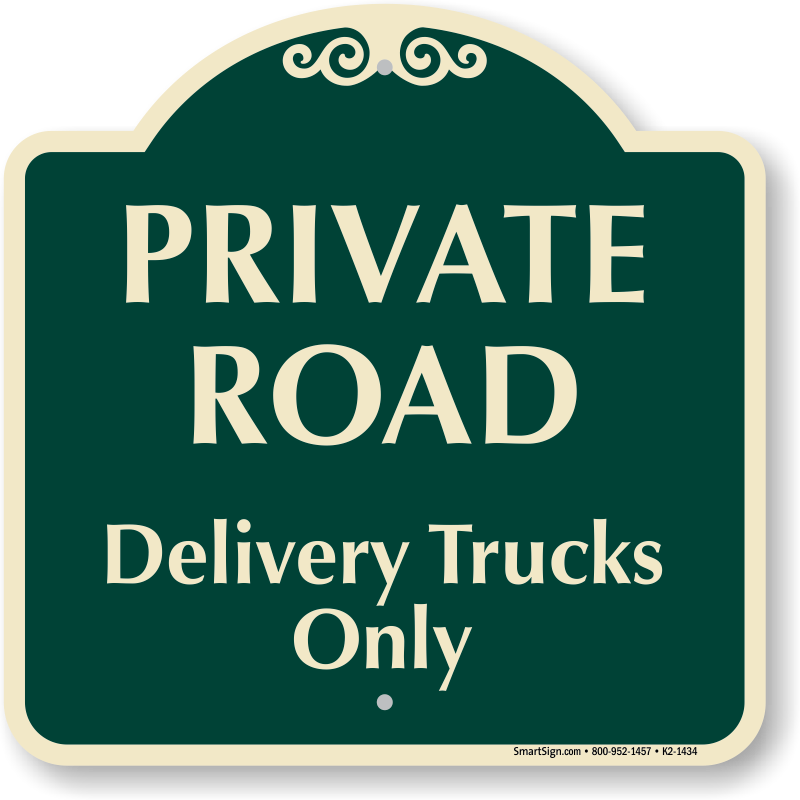 Clipart road driveway. Private delivery trucks only