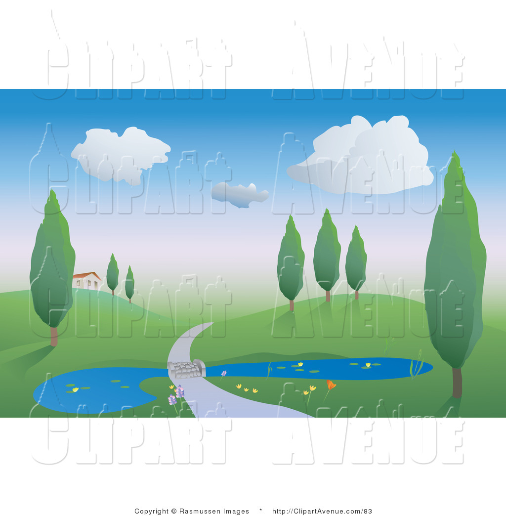 Avenue of a country. Clipart road driveway