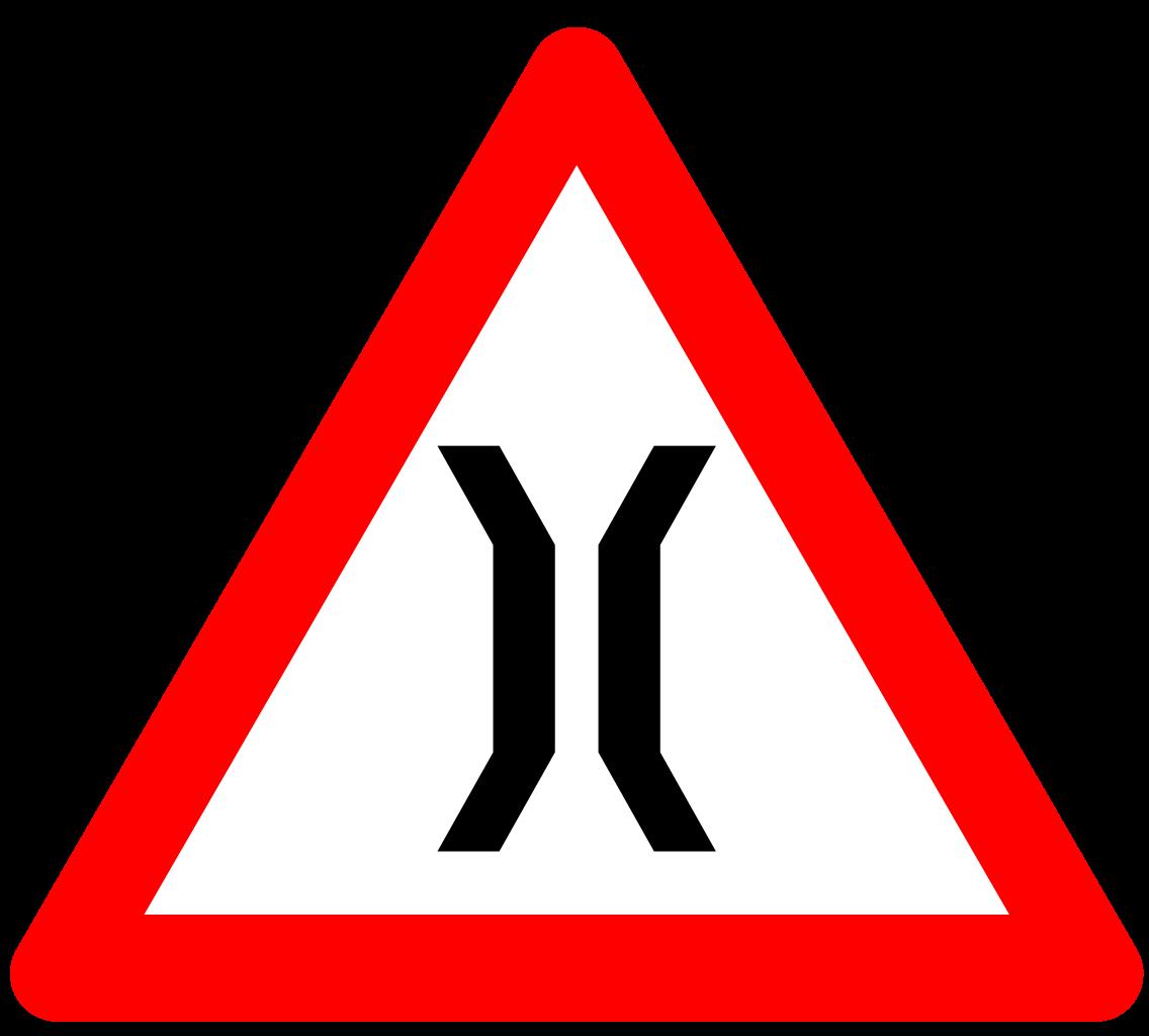 Narrow bridge sign india. Clipart road file