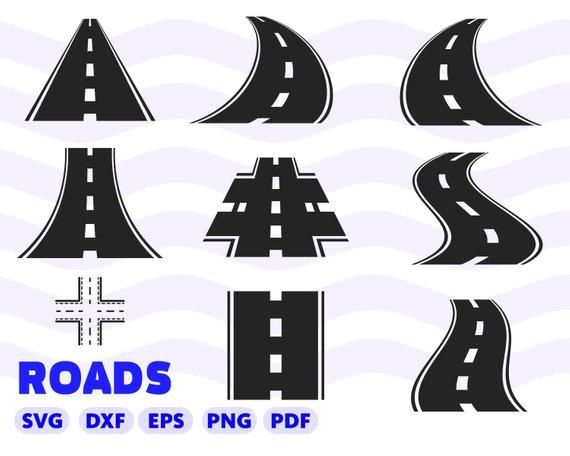 Clipart road file. Svg highway bending curved