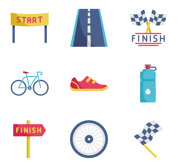 Icons free vector bicycle. Clipart road icon
