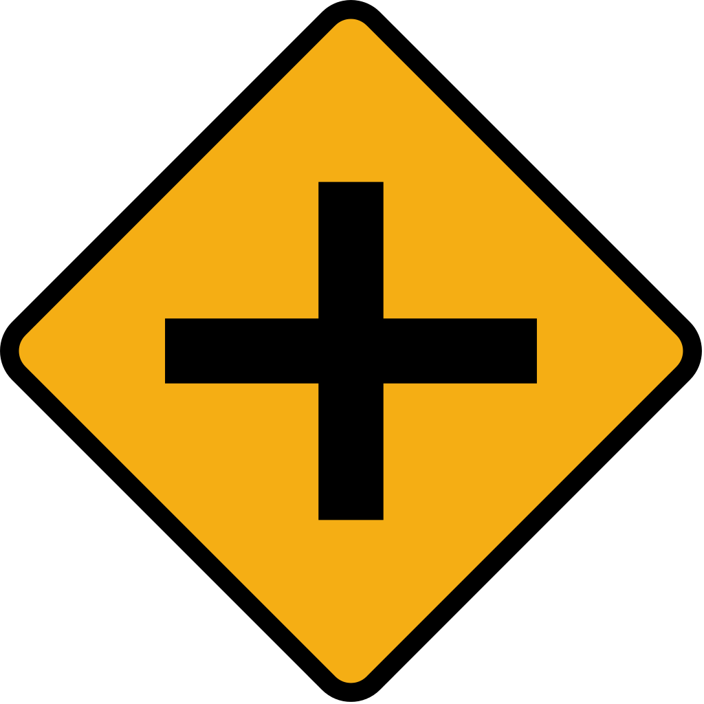 Clipart road junction. File diamond sign crossroads