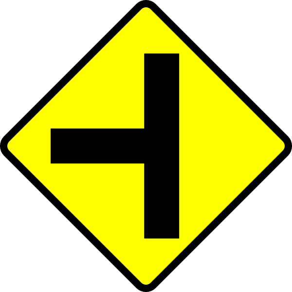 Knot clipart juncture. Caution t junction road