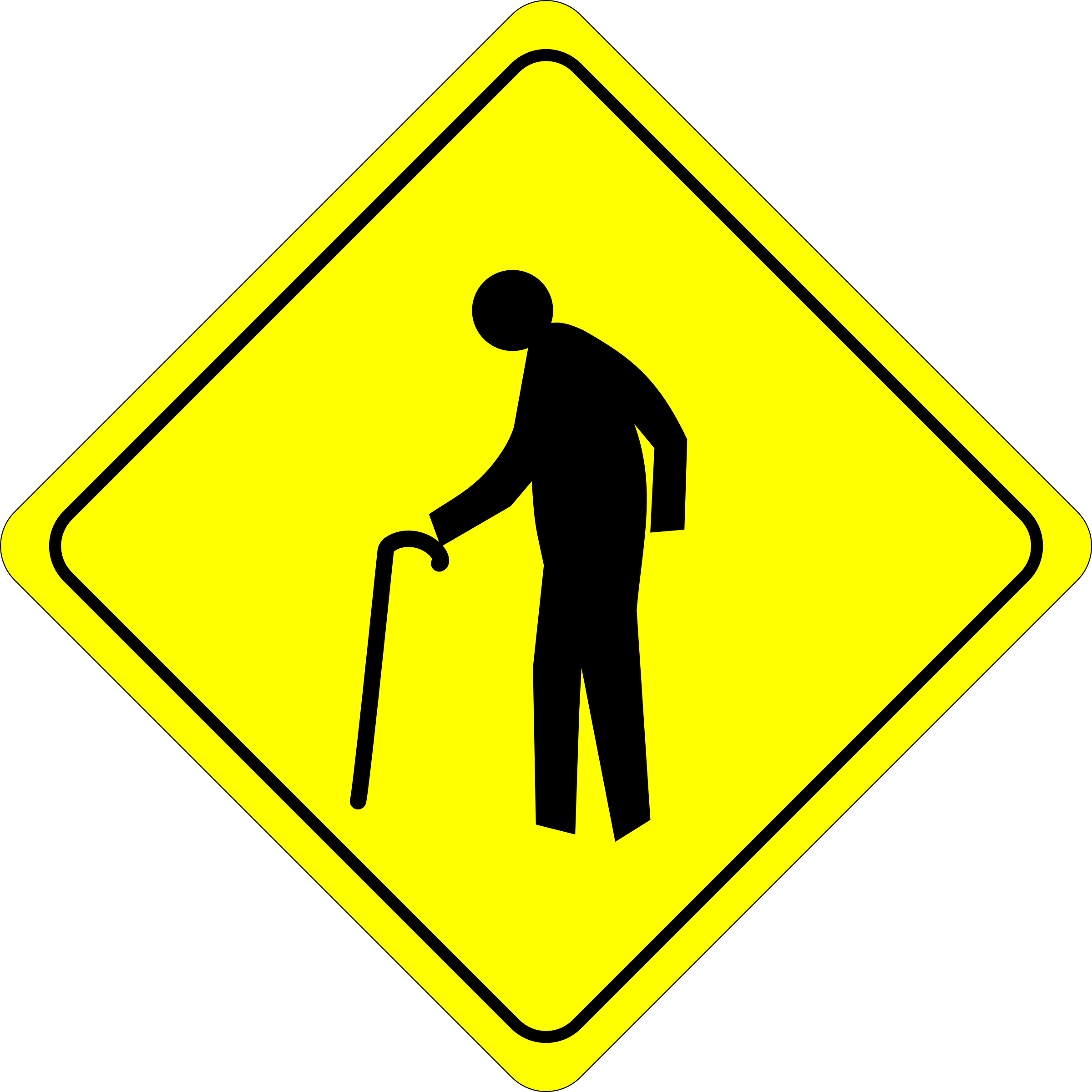 Clipart road junction. Caution old dude crossing