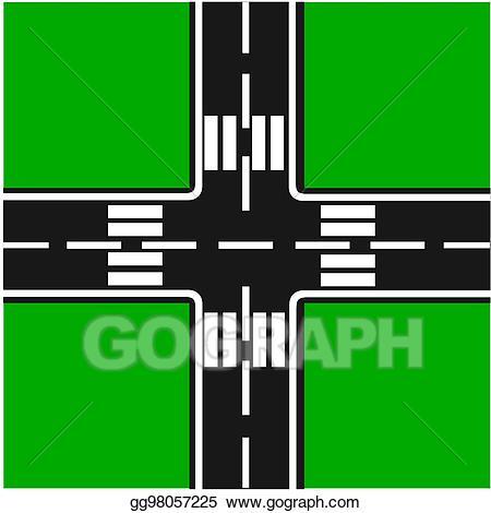 Vector art eps gg. Clipart road junction