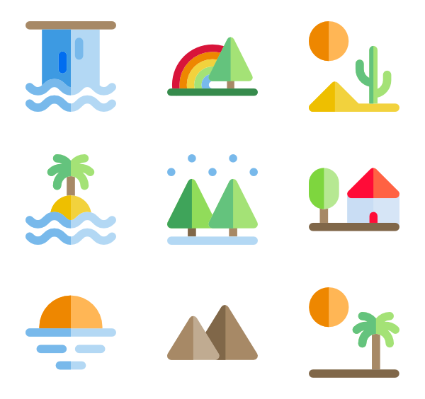 Icons free vector landscapes. Clipart road mountain road