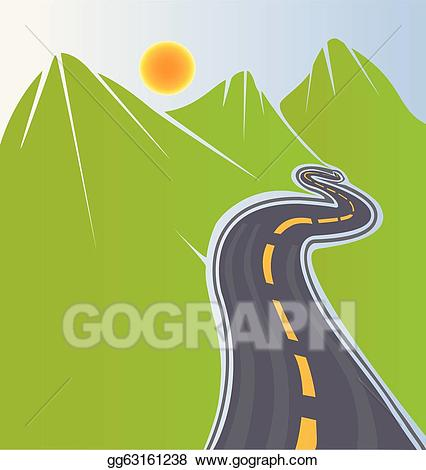 Vector stock and green. Clipart road mountain road
