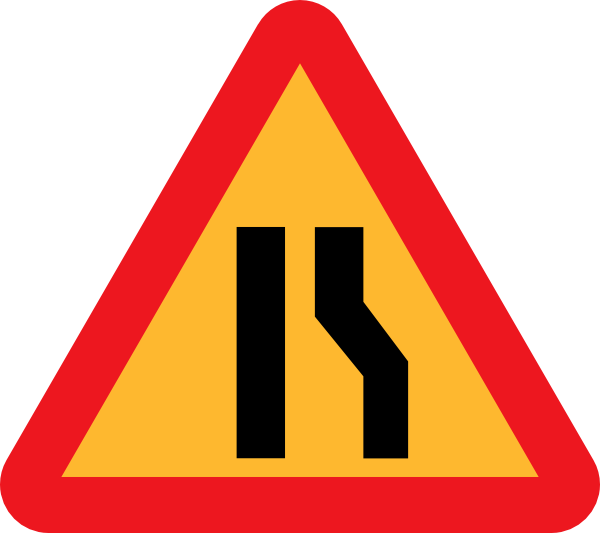 Narrowing lanes sign clip. Clipart road narrow road