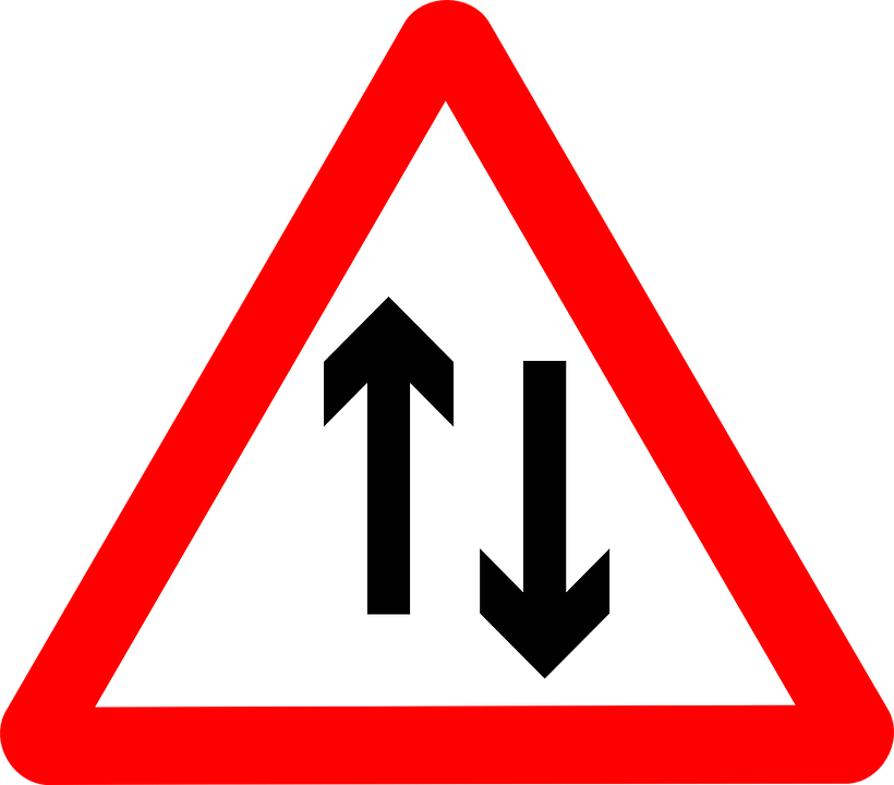 Clipart road narrow road. Two way warning sign