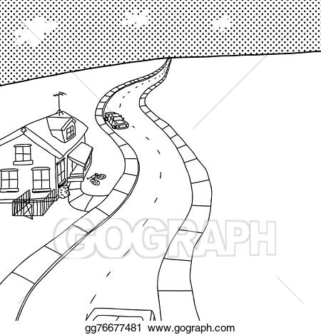 Vector illustration of with. Clipart road outline