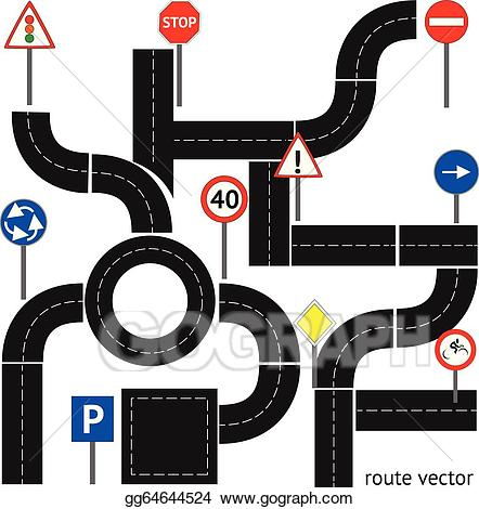 Clipart road path. Eps vector with signs