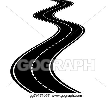Clipart road perspective. Vector art of curved