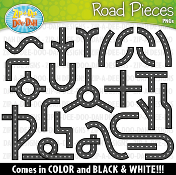 Pieces zip a dee. Clipart road piece