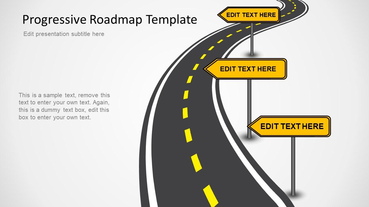 Clipart road presentation. Progressive roadmap powerpoint template