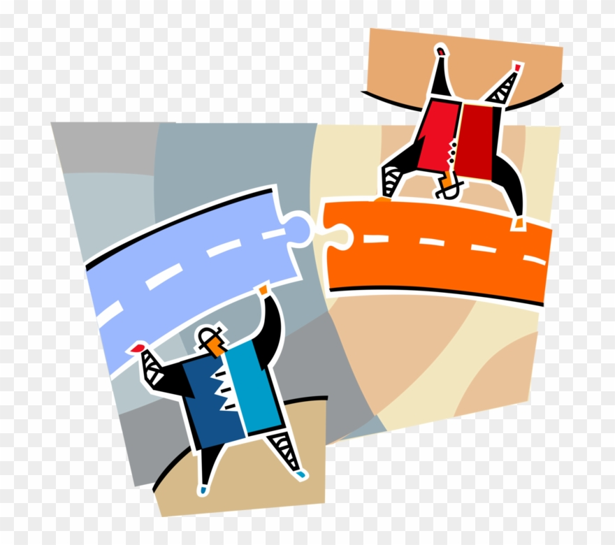 Library connect pieces image. Puzzle clipart road
