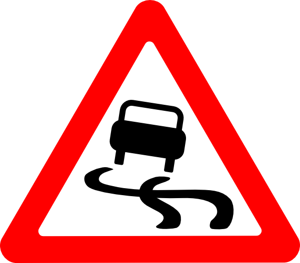 Windy clipart wet. Slippery road sign clip