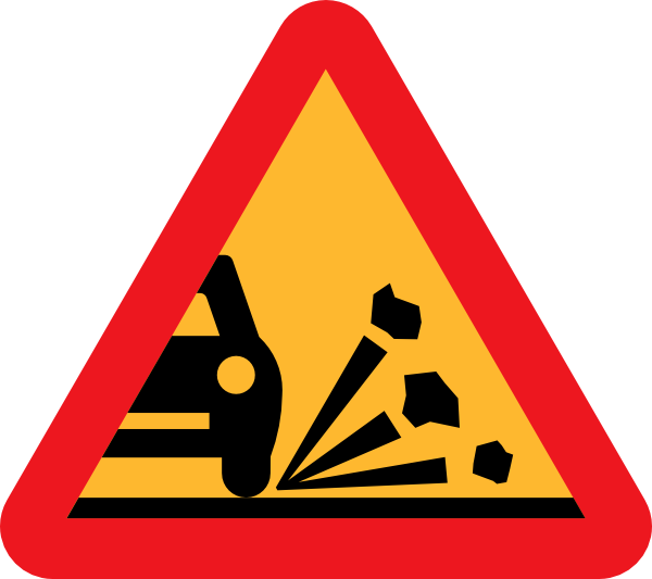 Clipart road road sign. Loose stones on the