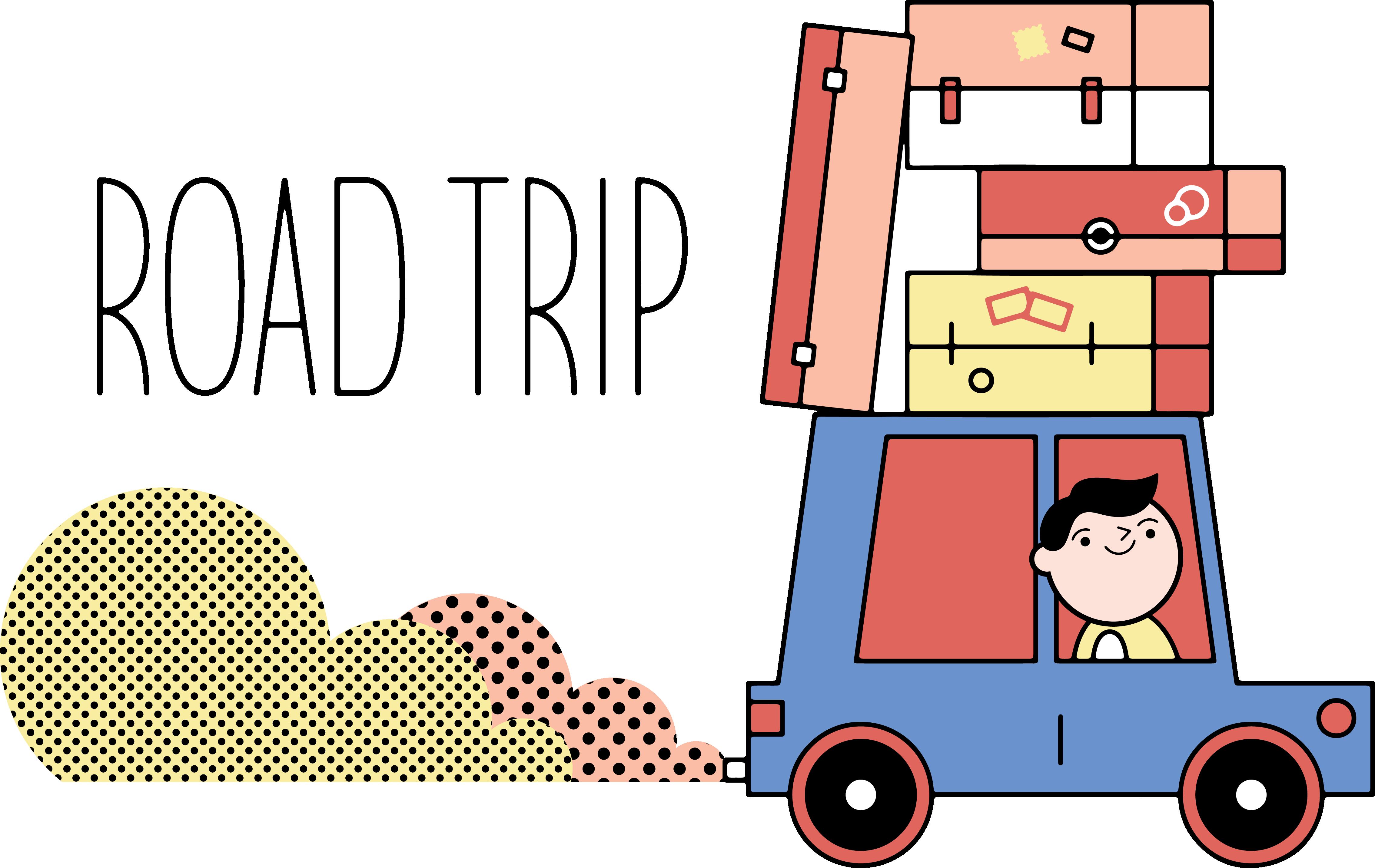 Clipart road road trip. Travel tourism cartoon self