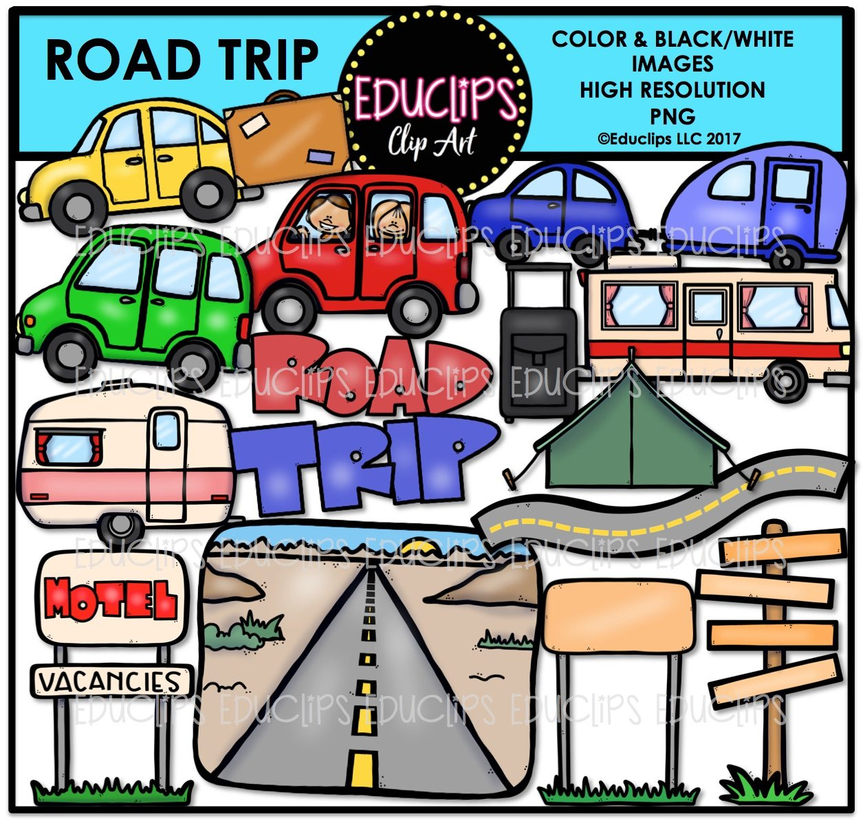 Clip art bundle color. Clipart road road trip