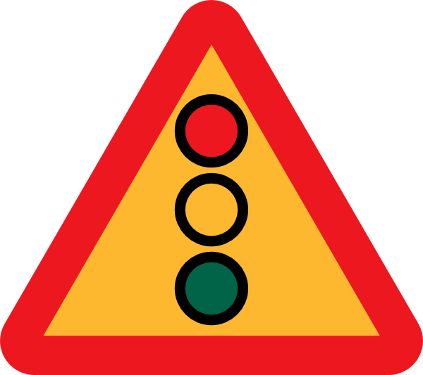 Traffic lights ahead sign. Clipart road robot