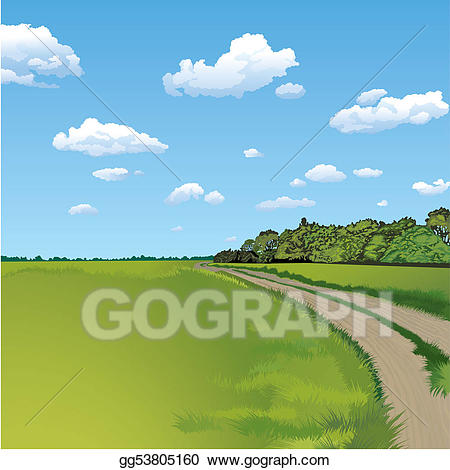 Clipart road rural road. Vector countryside scene