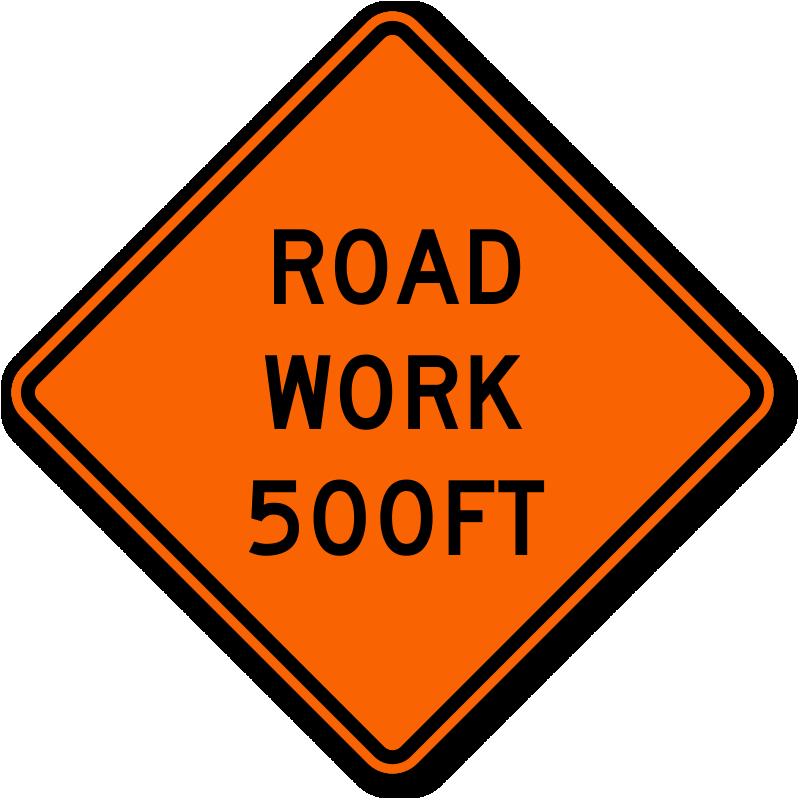 Clipart road rural road. Work signs ahead zoom