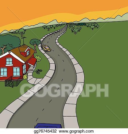 Clipart road rural road. Vector art cars near