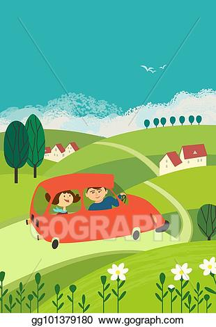 Vector art travel by. Clipart road rural road