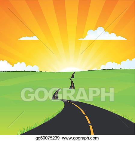 Vector illustration country landscape. Clipart road rural road