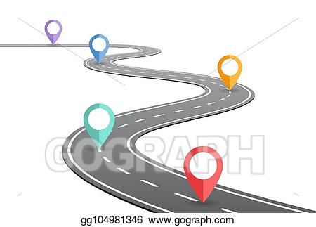 Clipart road timeline. Vector illustration winding concept