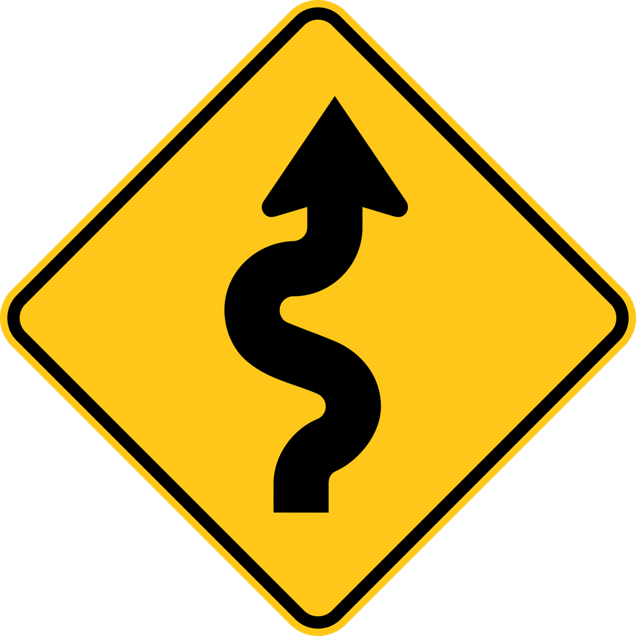 Clipart road trail. Winding right warning sign