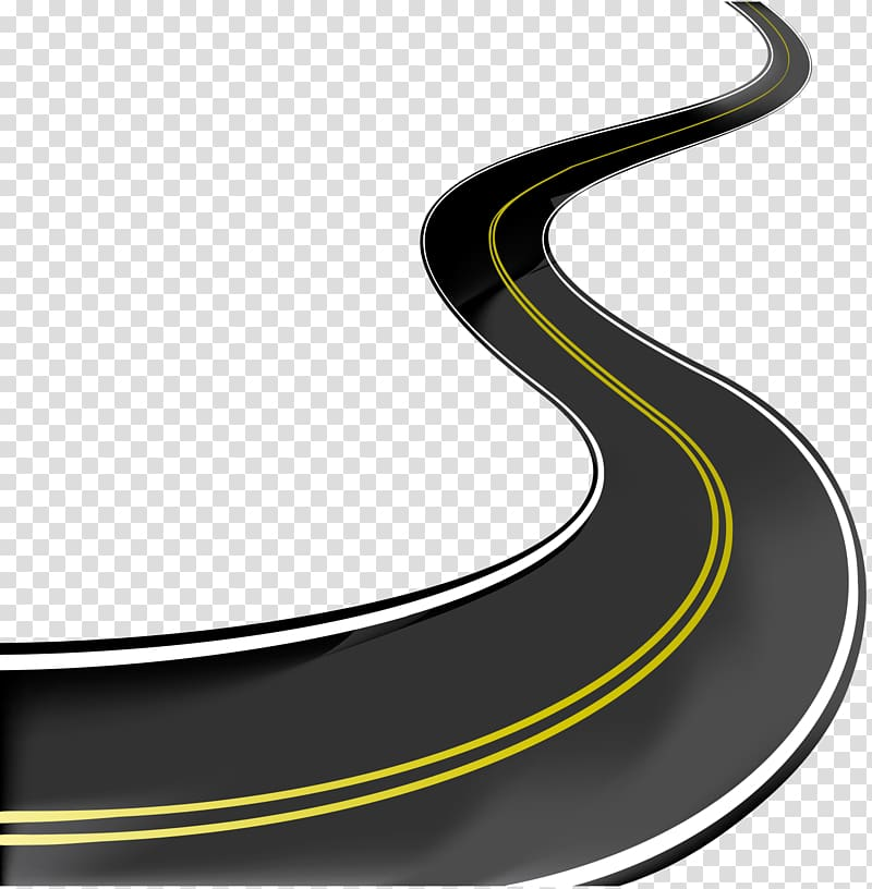 Curved with two yellow. Clipart road transparent background