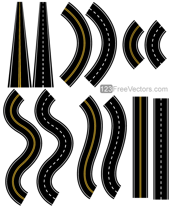 Clipart road vector. Roads pack printable