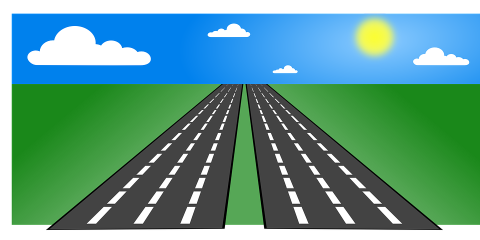 Freeway straight road pencil. Trail clipart highway
