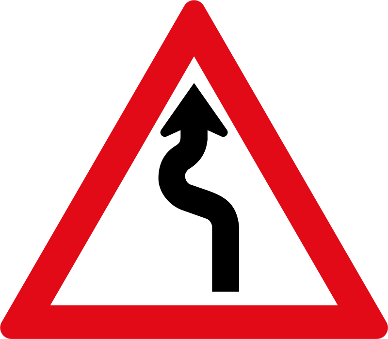 Clipart road winding road. W sign left right